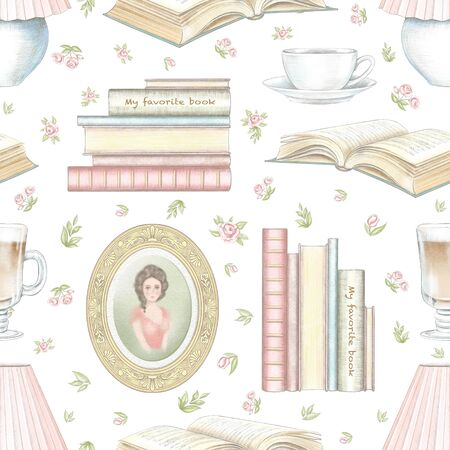 Vintage seamless pattern with hot drinks, portrait, books, desk lamp and little flowers isolated on white background. Watercolor and lead pencil graphic hand drawn illustration Stock Photo
