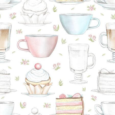 Vintage seamless pattern with various mugs, cakes little flowers isolated on white background. Watercolor and lead pencil graphic hand drawn illustration
