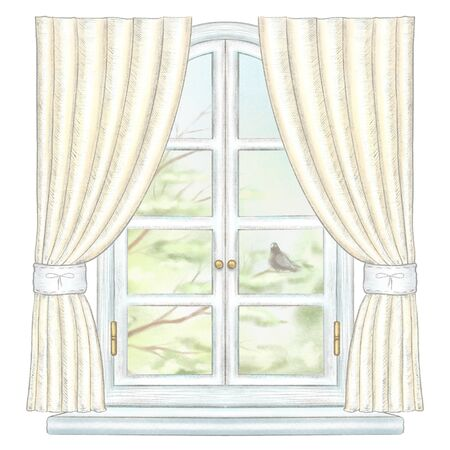 Classic white arch window with yellow curtains and summer landscape with tree branches and lonely dove isolated on white background. Watercolor and lead pencil graphic hand drawn illustration