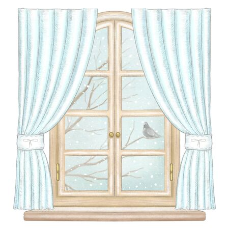Classic wooden arch window with blue curtains and winter landscape with bare tree branches, snowflakes and lonely dove isolated on white background. Watercolor and lead pencil graphic hand drawn illustration Stock Photo