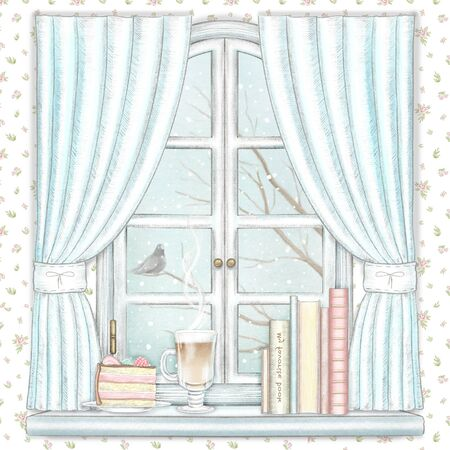 Composition with coffee, piece of cake and books on the sill of the window with blue curtains and winter landscape on floral pattern wallpaper background. Watercolor and lead pencil graphic hand drawn illustration