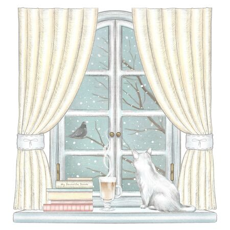Composition with cat, coffee, and books on the sill of the window with yellow curtains and winter landscape isolated on white background. Watercolor and lead pencil graphic hand drawn illustration Stock Photo