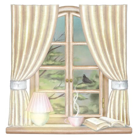 Composition with hot drink, glowing desk lamp and book on the sill of the window with yellow curtains and night landscape isolated on white background. Watercolor and lead pencil graphic hand drawn illustration