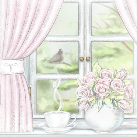 Composition with coffee and vase with roses on the sill of the window with pink curtains and summer landscape. Watercolor and lead pencil graphic hand drawn illustration