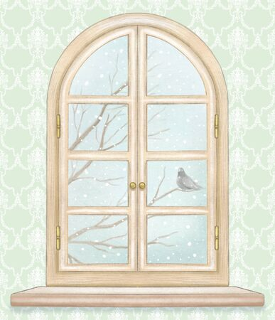 Classic wooden arch window with winter landscape with bare tree branches, snowflakes and lonely dove on classic green wallpaper background. Watercolor and lead pencil graphic hand drawn illustration