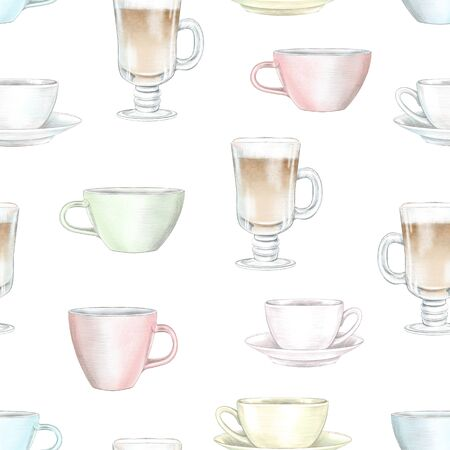 Vintage seamless pattern with various color mugs on white background. Watercolor and lead pencil graphic hand drawn illustration
