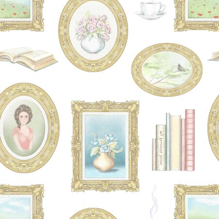 Vintage seamless pattern with hot drink, portrait, books, paintings with landscapes and flowers isolated on white background. Watercolor and lead pencil graphic hand drawn illustration Reklamní fotografie