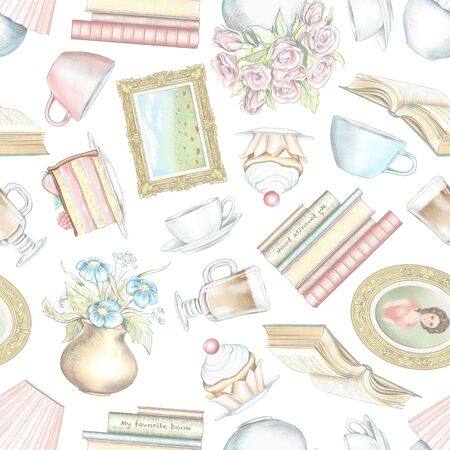 Vintage seamless pattern with hot drinks, portrait, books, desk lamp, cakes, bouquets of flowers and paintings isolated on white background. Watercolor and lead pencil graphic hand drawn illustration