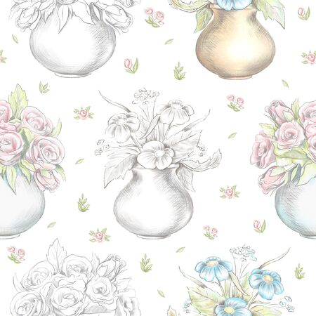 Vintage seamless pattern with flowers in vases isolated on floral pattern background. Watercolor and lead pencil graphic hand drawn illustration