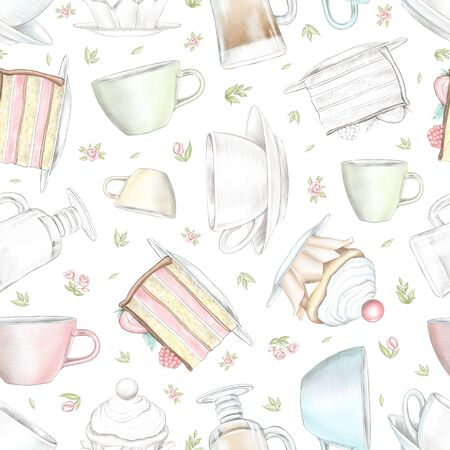 Vintage seamless pattern with various mugs, cakes and little flowers isolated on white background. Watercolor and lead pencil graphic hand drawn illustration