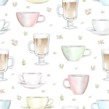 Vintage seamless pattern with various color mugs on floral white background. Watercolor and lead pencil graphic hand drawn illustration