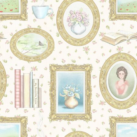 Vintage seamless pattern with hot drink, portrait, books, paintings with landscapes and flowers isolated on beige floral background. Watercolor and lead pencil graphic hand drawn illustration