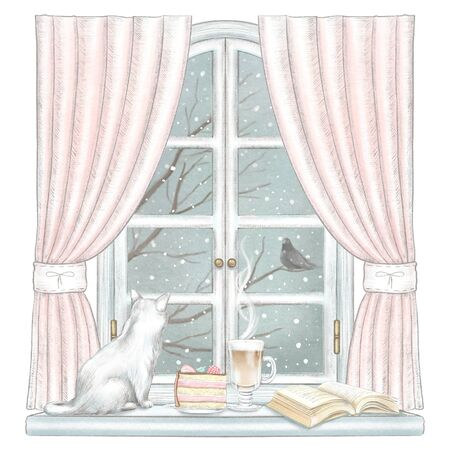 Composition with cat, coffee, and books on the sill of the window with pink curtains and winter landscape isolated on white background. Watercolor and lead pencil graphic hand drawn illustration