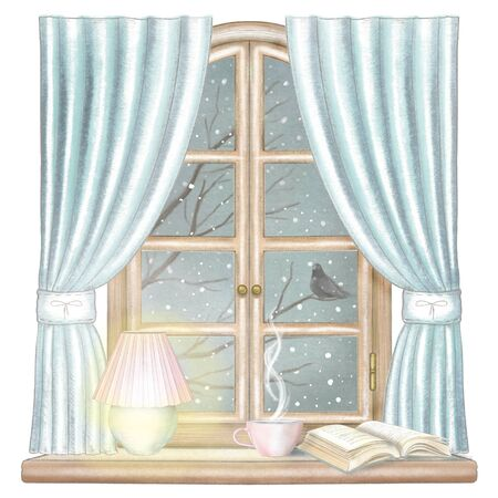 Composition with hot drink, glowing desk lamp and book on the sill of the window with blue curtains and night winter landscape isolated on white background. Watercolor and lead pencil graphic hand drawn illustration