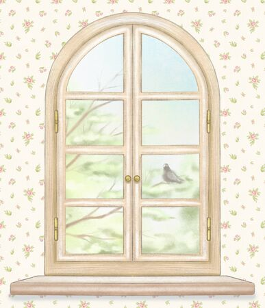 Classic wooden arch window with summer landscape with green tree branches and lonely dove on classic floral wallpaper background. Watercolor and lead pencil graphic hand drawn illustration