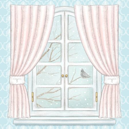 Classic white arch window with pink curtains, winter landscape with bare tree branches, snowflakes and lonely dove on blue wallpaper background. Watercolor and lead pencil graphic hand drawn illustration Reklamní fotografie