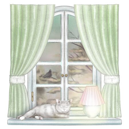 Composition with glowing desk lamp and sleeping cat on the sill of the window with green curtains and night landscape isolated on white background. Watercolor and lead pencil graphic hand drawn illustration