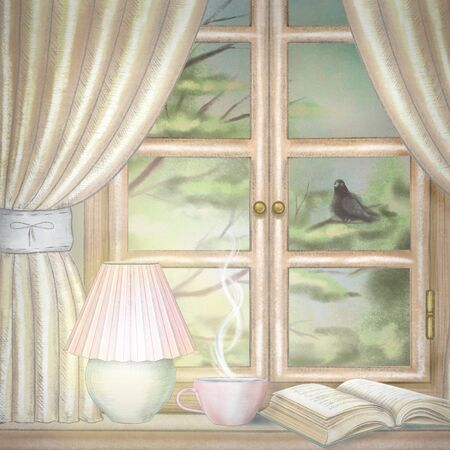 Composition with glowing desk lamp, book and hot drink on the sill of the window with yellow curtains and evening landscape. Watercolor and lead pencil graphic hand drawn illustration
