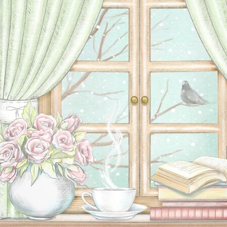 Composition with coffee, books and vase with roses on the sill of the window with green curtains and winter landscape. Watercolor and lead pencil graphic hand drawn illustration