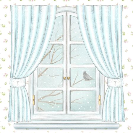 Classic white arch window with blue curtains, winter landscape with bare tree branches, snowflakes and lonely dove on floral wallpaper background. Watercolor and lead pencil graphic hand drawn illustration Reklamní fotografie