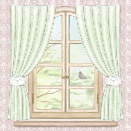 Classic wooden arch window with green curtains, summer landscape with tree branches and dove on pink wallpaper background. Watercolor and lead pencil graphic hand drawn illustration Stock Photo