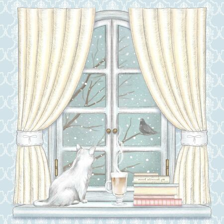Composition with cat, coffee, and books on the sill of the window with yellow curtains and winter landscape on wallpaper background. Watercolor and lead pencil graphic hand drawn illustration