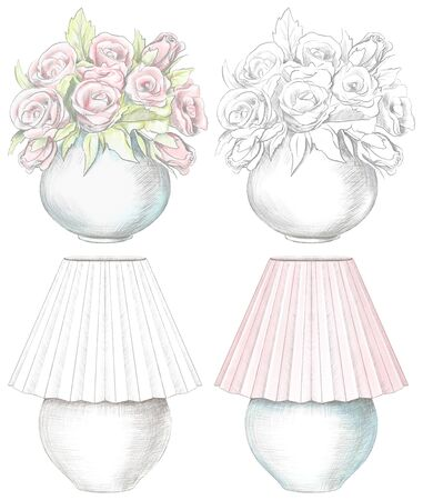 Set of various lamps and flowers in vases isolated on white background. Watercolor and lead pencil graphic hand drawn illustration