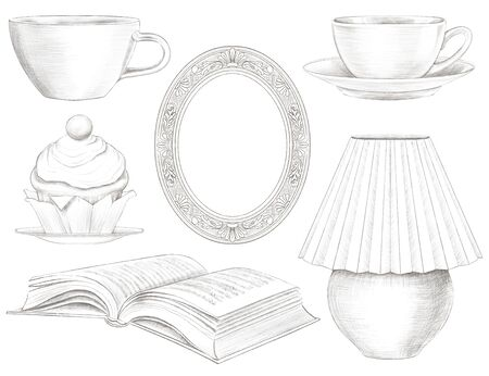 Set of various vintage cups, lamp, book, cake and frame isolated on white background. Lead pencil graphic hand drawn illustration