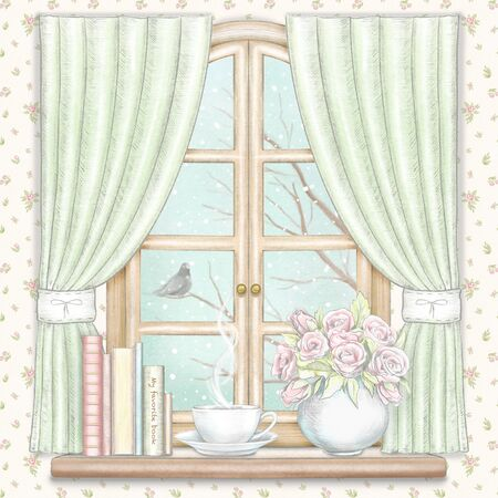 Composition with coffee, books and vase with roses on the sill of the window with green curtains and winter landscape on floral pattern wallpaper background. Watercolor and lead pencil graphic hand drawn illustration Stock Photo
