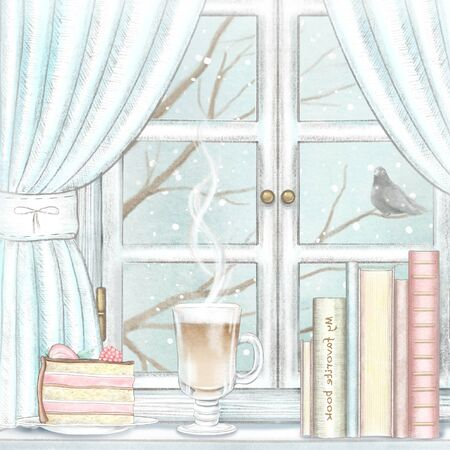 Composition with coffee, piece of cake and books on the sill of the window with blue curtains and winter landscape. Watercolor and lead pencil graphic hand drawn illustration