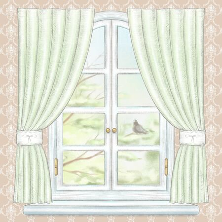 Classic white arch window with green curtains, summer landscape with tree branches and dove on brown wallpaper background. Watercolor and lead pencil graphic hand drawn illustration