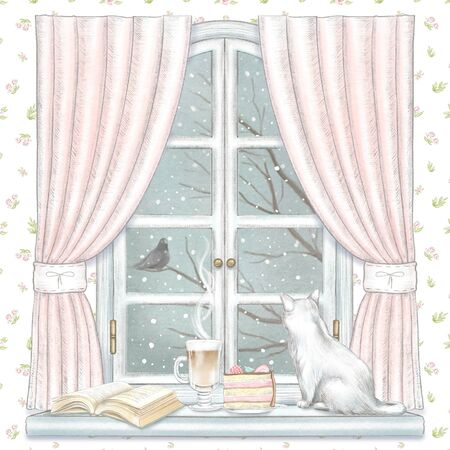 Composition with cat, coffee, cake and book on the sill of the window with pink curtains and winter landscape on floral wallpaper background. Watercolor and lead pencil graphic hand drawn illustration