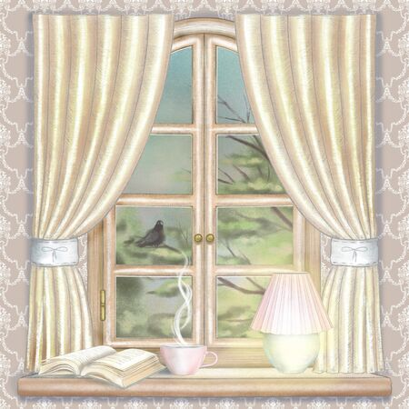 Composition with glowing desk lamp, book and hot drink on the sill of the window with yellow curtains and evening landscape on wallpaper background. Watercolor and lead pencil graphic hand drawn illustration