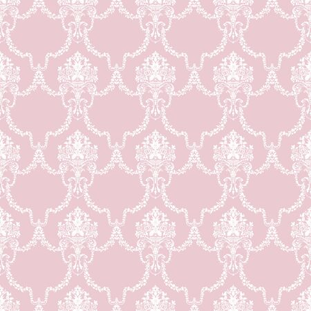 Vintage pink ornament on white background. Hand drawn illustration