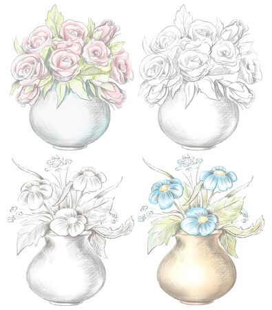 Set of various flowers in vases isolated on white background. Watercolor and lead pencil graphic hand drawn illustration