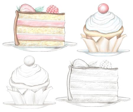 Set of various cakes isolated on white background. Watercolor and lead pencil graphic hand drawn illustration