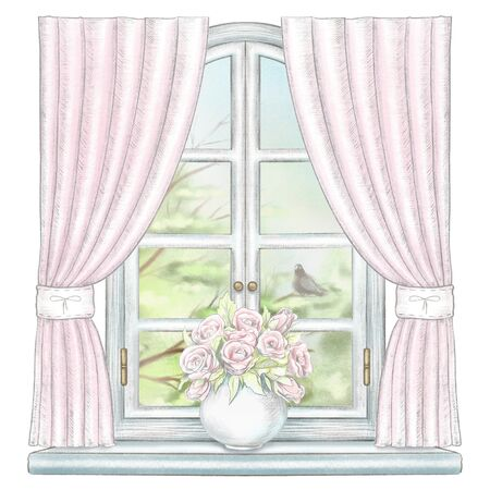 Composition with vase with roses on the sill of the window with pink curtains and summer landscape isolated on white background. Watercolor and lead pencil graphic hand drawn illustration