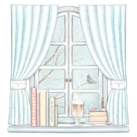 Composition with coffee, piece of cake and books on the sill of the window with blue curtains and winter landscape isolated on white background. Watercolor and lead pencil graphic hand drawn illustration