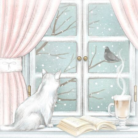 Composition with cat, coffee and open book on the sill of the window with pink curtains and winter landscape. Watercolor and lead pencil graphic hand drawn illustration