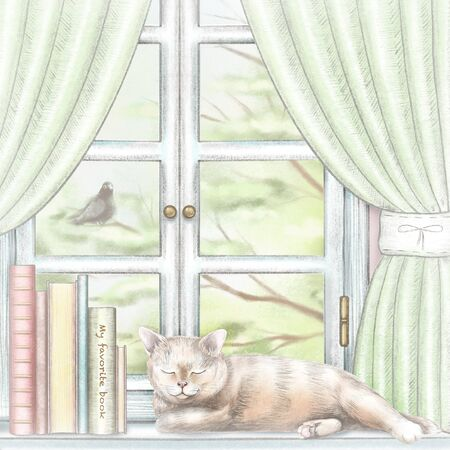 Composition with books and cat sleeping on the sill of the window with green curtains and  summer landscape. Watercolor and lead pencil graphic hand drawn illustration Stock Photo