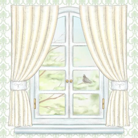 Classic white arch window with yellow curtains, summer landscape with tree branches and dove on green wallpaper. Watercolor and lead pencil graphic hand drawn illustration Reklamní fotografie