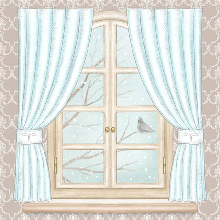 Classic wooden arch window with blue curtains, winter landscape with bare tree branches, snowflakes and lonely dove on brown wallpaper. Watercolor and lead pencil graphic hand drawn illustration Stock Photo