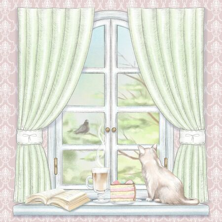 Composition with coffee, cake, book and cat sitting on the sill of the window with green curtains and  summer landscape on rose wallpaper. Watercolor and lead pencil graphic hand drawn illustration