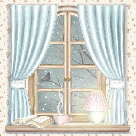 Composition with hot drink, lamp and book on the sill of the window with blue curtains and night winter landscape on floral wallpaper. Watercolor and lead pencil graphic hand drawn illustration