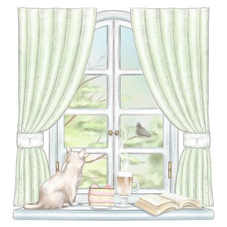 Composition with coffee, cake, book and cat sitting on the sill of the window with green curtains and  summer landscape isolated on white background. Watercolor and lead pencil graphic hand drawn illustration