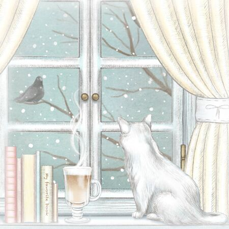 Composition with cat, coffee, and books on the sill of the window with yellow curtains and winter landscape. Watercolor and lead pencil graphic hand drawn illustration