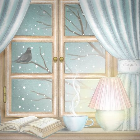 Composition with hot drink, glowing desk lamp and book on the sill of the window with blue curtains and night winter landscape. Watercolor and lead pencil graphic hand drawn illustration Stock Photo