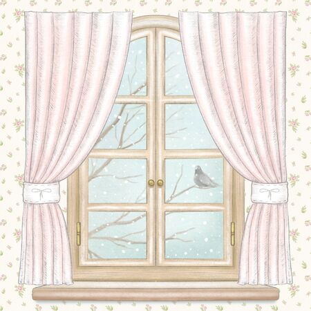 Classic arch window with pink curtains, winter landscape with bare tree branches, snowflakes and lonely dove on floral wallpaper background. Watercolor and lead pencil graphic hand drawn illustration