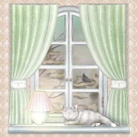 Composition with glowing desk lamp and sleeping cat on the sill of the window with green curtains and night landscape on wallpaper. Watercolor and lead pencil graphic hand drawn illustration Stock Photo