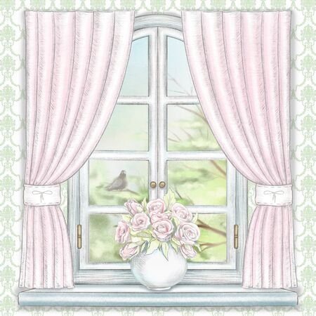 Composition with vase with roses on the sill of the window with pink curtains and summer landscape on green wallpaper. Watercolor and lead pencil graphic hand drawn illustration Stock Photo